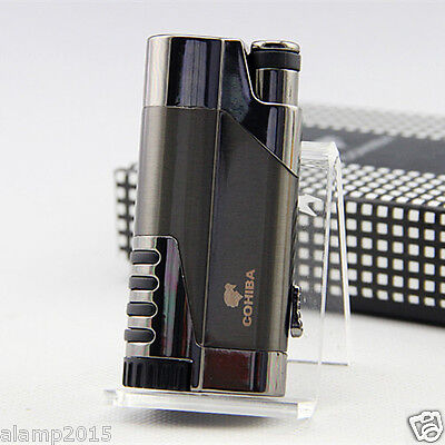 COHIBA Dark Gray Delica Metal 1 Torch Jet Flame Cigar Cigarette Lighter W/ Punch
