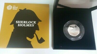 Sherlock Holmes 2019 UK Royal Mint. 50p Silver Proof Coin with COA and Box.