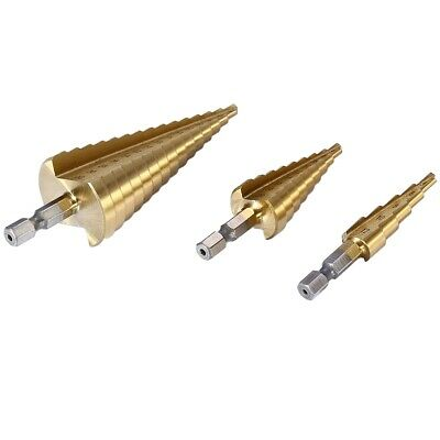 3pcs HSS 6541 Hex Shank Step Cone Drill Bit Set Hole Cutter