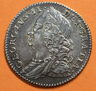 1757 George II Sixpence Silver Coin  #JF#7