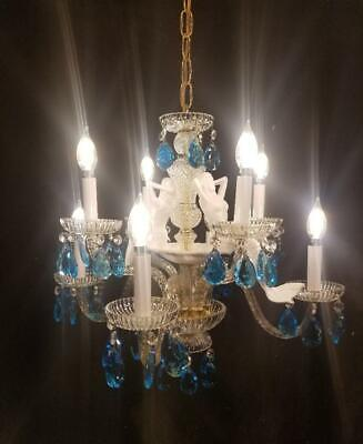Antique Vintage  Chandelier Mermaids Blue Crystals Unique Ornate