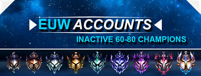 League of Legends Account EUW LoL Smurf Acc INACTIVE 60-80 Champs