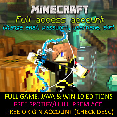 ⭐Minecraft Windows 10 & Java Edition Video Game & Full Access Account + 20 Alts⭐