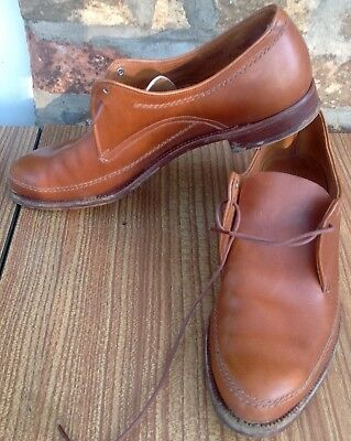 Pair Of Men's/boys Vintage Tan Leather Brogues Size 5.5