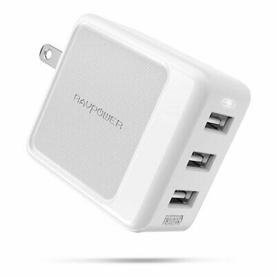 RAVPower 3-Port USB Fast Wall Charger for iPhone Xs Max XR X 8 7 Plus Galaxy 10