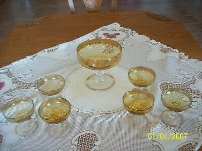 Punch Bowl & 6 Glasses Antique Set Gold Etched Scalloped Edges To Clear