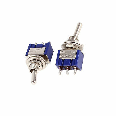 2 pcs Mini 6A 125V AC SPDT MTS-102 3Pin 2 Position On-on Toggle Switch Practic