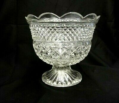 """Heavy Large Crystal Clear Glass Bowl Pot Planter Shabby Chic 7"""" Tall X 8"""" Across"""
