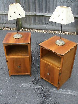 Pair of vintage walnut bedside cabinets, left and right hand opening, 1960s era
