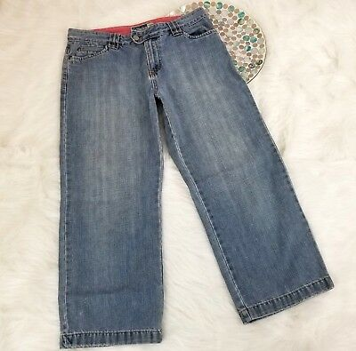 Old Navy Womens Jeans Size 8 Blue Low Waist Cropped Capri Straight Cotton o1289