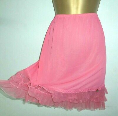Super Sheer Vtg Golden Charm Pink Nylon Half Slip Size 10