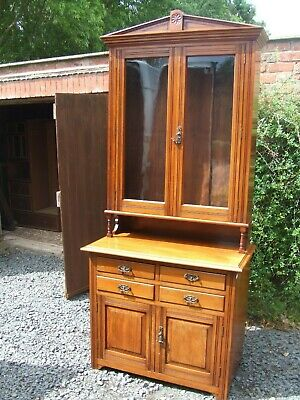 antique edwardian walnut bookcase with drawers