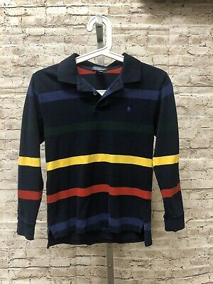 POLO BY RALPH LAUREN Boys Long Sleeve Polo Shirt Size M (10-12) Navy Stripes