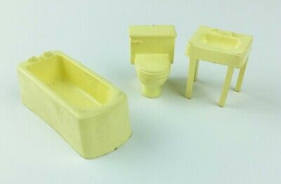 Marx Dollhouse Plastic Bathroom Sink Bathtub Tub Commode Toilet Lot of 3 Vintage