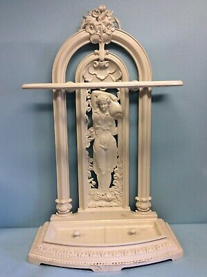 "Antique English Victorian Umbrella Stand, Cast Iron 33.5""T"