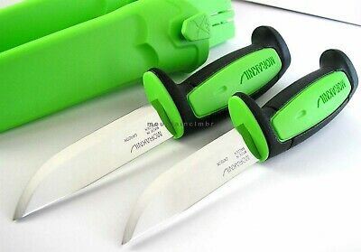 2 Pc Lot Mora Morakniv Basic 511 Carbon Steel Knife BLACK LE GREEN Sweden