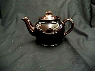 """Vintage Brown Sadler Made In England Teapot W/Lid Classic Glaze 4.25"""" Tall X 7"""""""