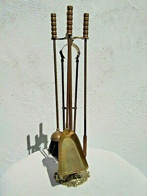 Vintage Brass & Metal Fire Companion Set For Fire Place