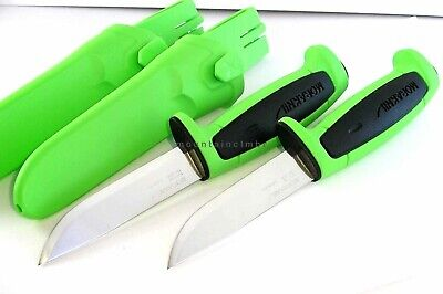 2 Pc LOT Mora Morakniv Basic 546 Stainless Steel Knife Sweden BLACK LE GREEN