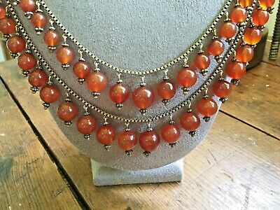 Antique Art Nouveau Sterling with gold wash necklace with Carnelian stone drops