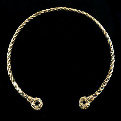 Hand Made CELTIC Bronze TORC with Terminals TORQUES Ancient Warrior Neck Ring
