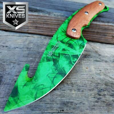 FOREST GREEN Tactical Fixed Blade FULL TANG Hunting Wood Handle Gut Hook Knife