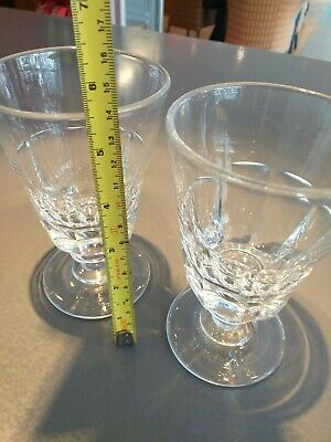Pair Antique English 19th Century Fluted Victorian Cut sided Wine Glasses c.1880