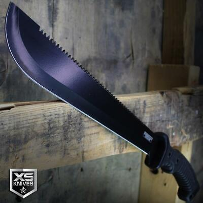 "15.5"" BLACK Survival Jungle Hunting Machete SAWBACK Military Fixed Blade SHEATH"