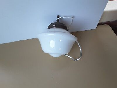 Original  Art Deco  Glass Light Shade & Metal Fitting - Ceiling
