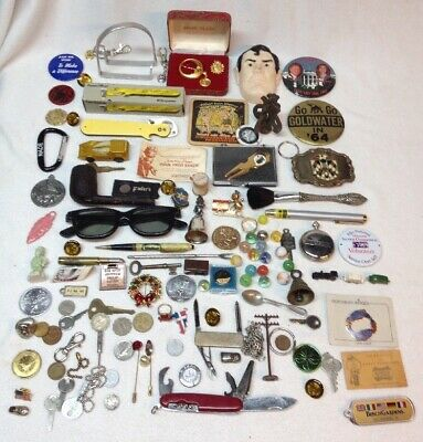 Huge Junk Drawer Lot COINS TOKENS JEWELRY KNIVES & More