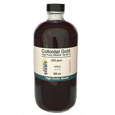 True Colloidal Gold (No Chemicals) - 500 mL of 200 ppm BPA free plastic bottle