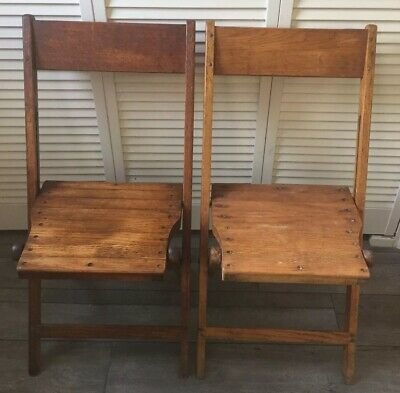 2 Antique McMahon Funeral Home SNYDER Chair Co. Oak Wood Folding Chairs. USA