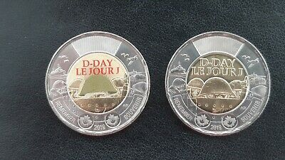 Canada 2019 75th D-Day COLOURED + NO COLOUR UNC Canada $2 dollar toonie coins