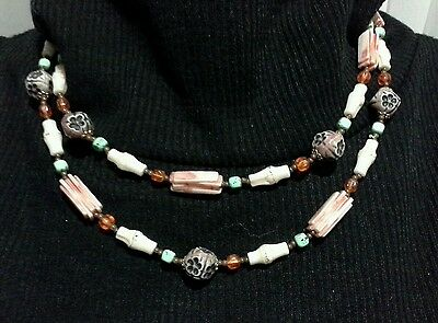 Vintage Art Deco Geometric Design Long Resin & Glass Beaded Necklace