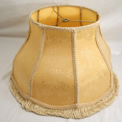 "Vintage / Antique Victorian Style Fringed Lampshade Ivory Floor Table 16"" x 9.5"""