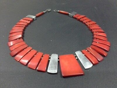 Vintage Red Shell & Silver Art Deco Style Piano Key Beaded Collar Necklace J126