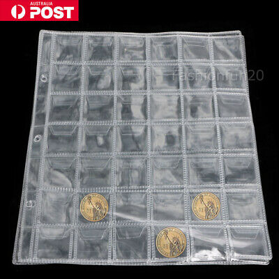 10pcs 42 Pockets Coin Holders Folder Pages Sheets For Collection Album Storage K