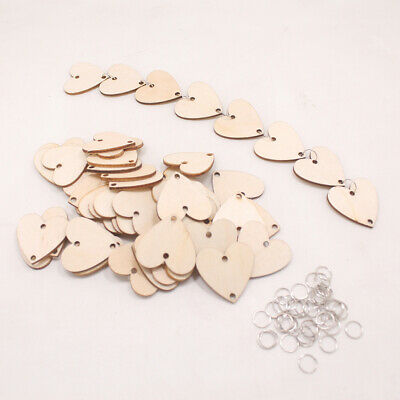 100pcs Heart Shaped Wooden Hanging Ornament Heart Craft Tags DIY Wood Craft Gift