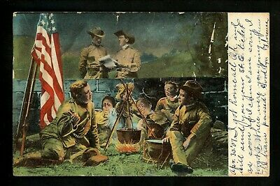 Military postcard World War I WWI Army soldiers dinner Vintage