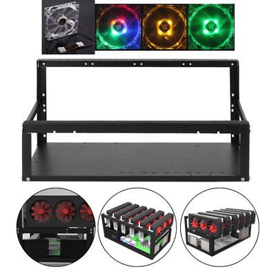 For 6 GPU ETH BTC Ethereum Crypto Coin Open Air Mining Rig Frame Miner Case+Fan