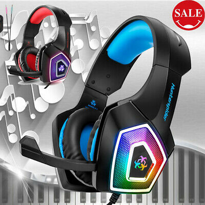 LED Stereo Surround Gaming Headset Headphones Mic XBOX ONE PC PS4 Over Ear 3.5mm