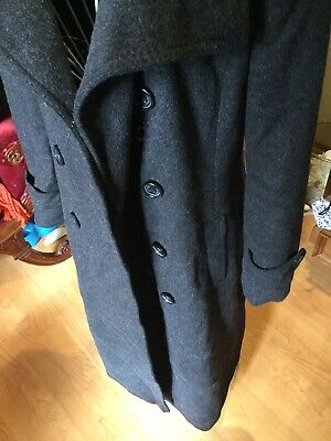 DKNY Wool Blend Trench Coat Size 6 US Women's Dark Grey Double Breasted Small 10