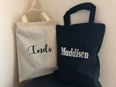 Personalised KIDS Cotton Library Bags (2 Colours Available)