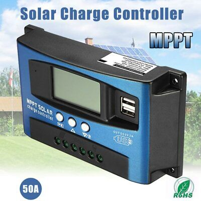 100A MPPT Solar Panel Regulator Battery Charge Controller 12V/24V LCD w/Dual USB