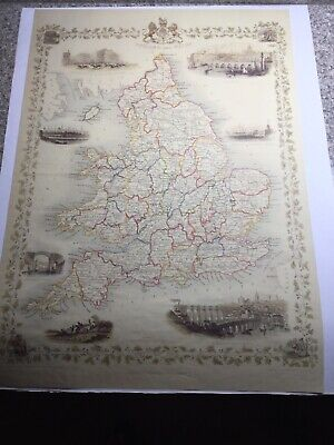 England and Wales Antique map by Tallis/Rapkin/Rogers 1851