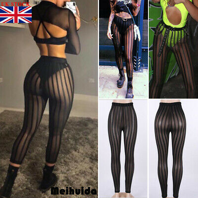 Ladies Women's Mesh striped Sexy Leggings Casual Perspective Pants Trousers NEW