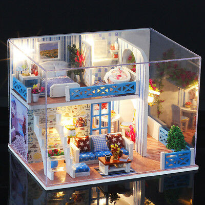 DIY Loft Apartments Dollhouse Wooden Dust Cover Miniature Furniture Kit LED Gift