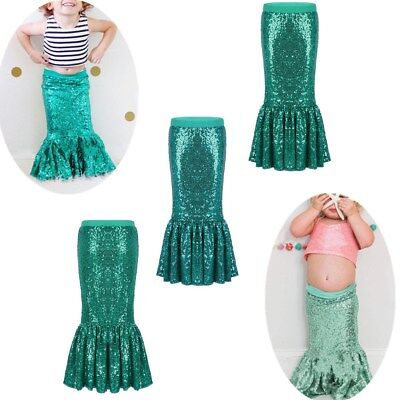 3f6238c0cb5d6 KIDS GIRLS SHINY Sequins Mermaid Tails Party Holiday Costume Outfits ...