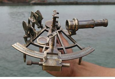 Solid Brass Nautical Sextant Maritime Collectible Instrument Item