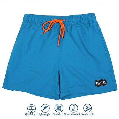 Men's Blue Quick Dry Swimwear Waterproof Swim Trunks Surfing Pants Shorts Boxer
